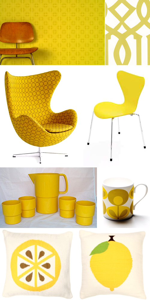 yellow furniture and accessories